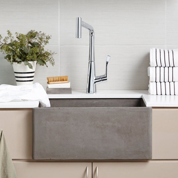 Small but mighty, this sink is a deep, single bowl kitchen sink perfectly sized for a smaller kitchen in a guest house, a kitchen prep sink, or for the laundry room. Install as an apron-front sink to show off its sleek lines and organic beauty or install behind the cabinet with no apron showing to be more discreet.