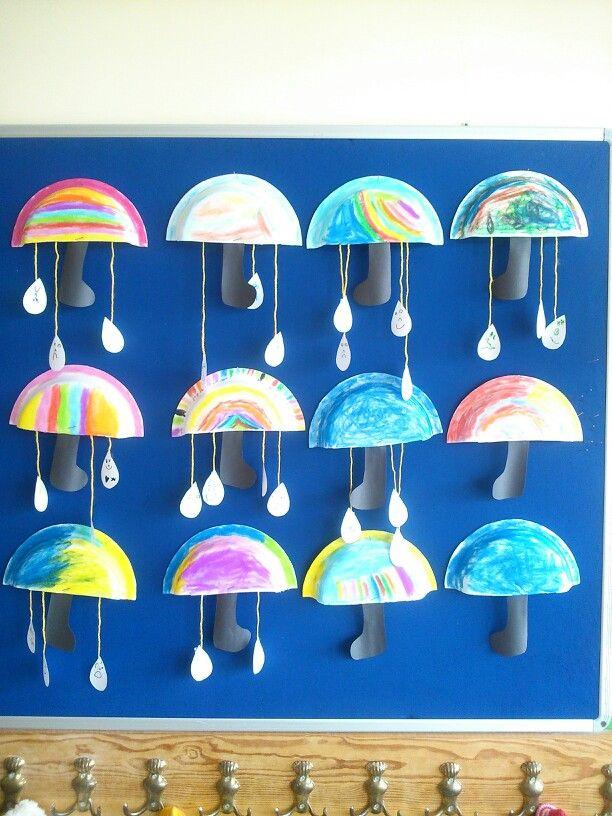 Çocuklarla yapılabilecek minik şemsiyeler - Anasınıfı ve okul öncesi çocuklar için çok cici bir etkinlik.