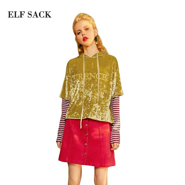 ELF SACK Autumn Velevt Retro Sweatshirts Women Letter Embroidery Vintage Pullovers Womens Fake Two Pieces Stripe Sleeves Tops #Brand #ELF SACK #sweaters #women_clothing #stylish_dresses #style #fashion