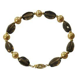 "8"" 7-7.5mm 14KY freshwater cultured pearl & smokey quartz bracelet. Security Jewelers. $114.00"