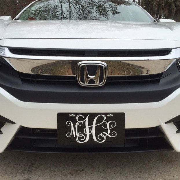 Classy Black and White Front License Plate, Personalized Monogrammed Car Tag Car Accessories Gift Sweet 16 Cute Car Accessories For Women by ChicMonogram on Etsy