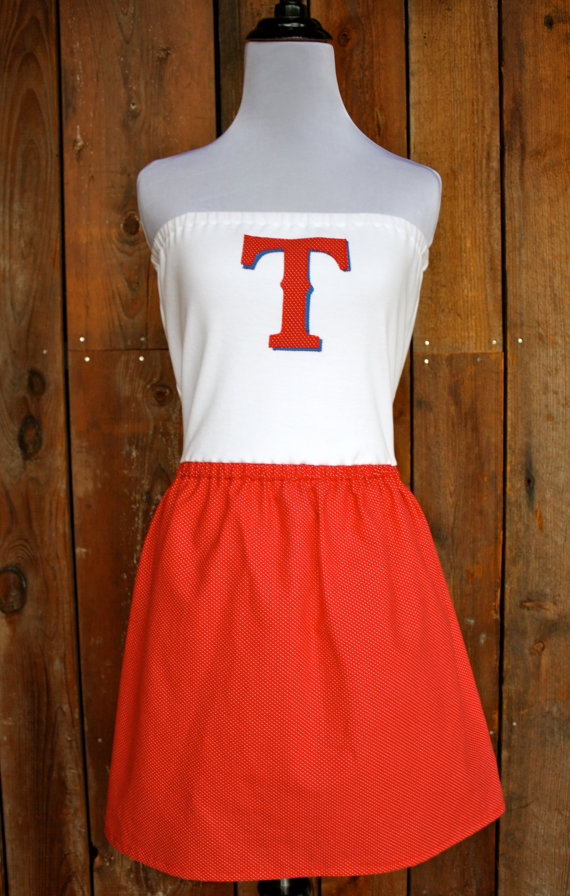 Texas Rangers Baseball Strapless Game Day Dress by jillbenimble