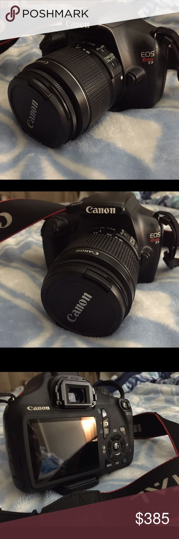 Canon T3 Used but in great and awesome condition. Nothin wrong never dropped no ding or any imperfection. Just going to upgrade my Camera 🎥😘❤️😁 will be shipping this with care ask for more pics if interested please no time waster or low ⛹️‍♀️ ballers. This listing is for the Lense+body...(charger) is MISSING in Action.. (will look for it and price reflects posh fees and missing charger) 😆 will look use my other camera's charger to charge to show it actually turns on. canon Other