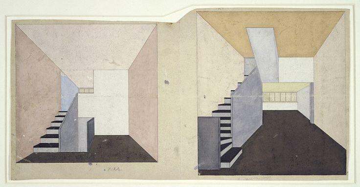 Hinnerk Scheper, colour design for apartment F of the Narkomfin building, Moskau, 1929 / Bauhaus-Archiv Berlin, (c) estate Scheper