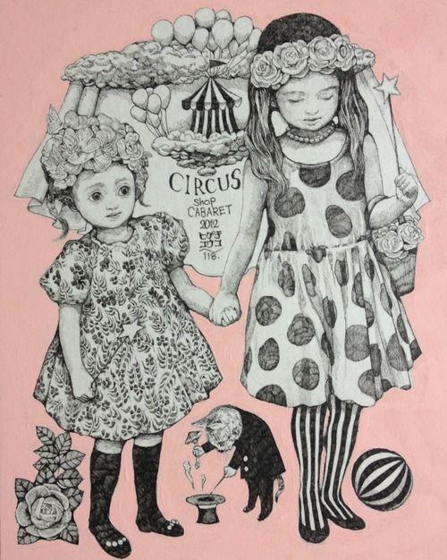 ヒグチユウコYuko Higuchi.「少女」 https://www.facebook.com/burnetmoth サーカス展