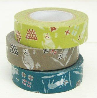 3 Masking tapes Cats - Light Green, Dark Green and Olive/Brown by ZigZakka on Etsy