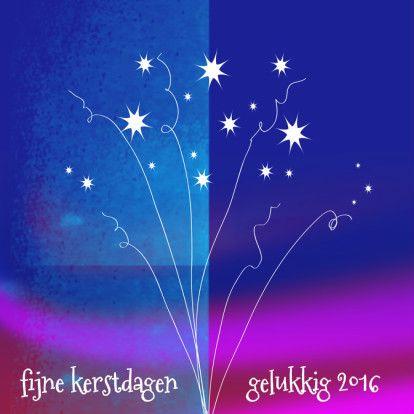 Kleurrijke nieuwjaarskaart 2016 met getekend vuurwerk in wit. Pas de tekst naar eigen wens aan.