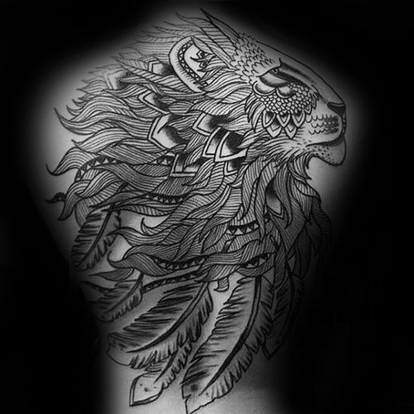 50 Lion Back Tattoo Designs For Men Masculine Big Cat Ink Ideas Tattoo Designs Men Back Tattoo Lion Back Tattoo