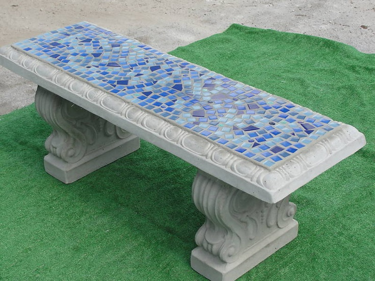 Concrete Mosaic Bench Tile Garden Retro Vintage Stone