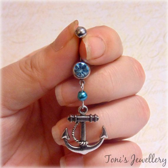 Anchor Belly Button Ring  Stainless Steel Blue Rhinestone