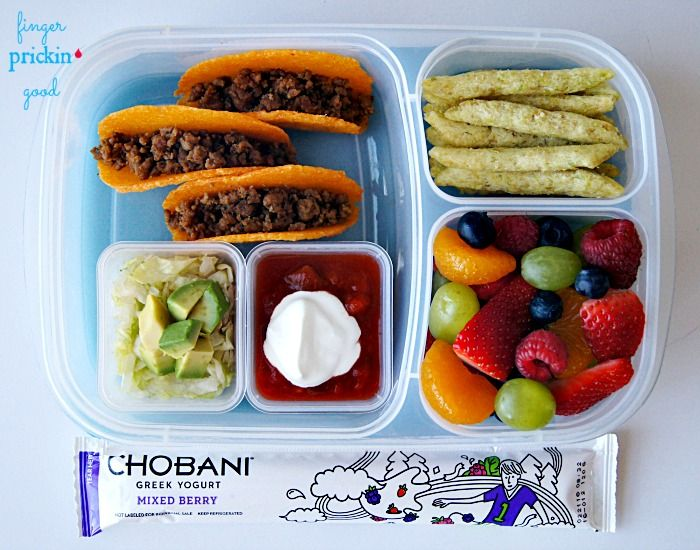 Here's what's inside: Cheese Shell Mini Tacos (filled with seasoned taco meat, and topped with shredded lettuce, avocado, salsa & sour cream)= 3 carbs Fresh Fruit (strawberries, blueberries, raspberries, grapes & mandarin oranges)= 20 carbs Harvest Snaps Snapea Crisps= 12 carbs Chobani Yogurt Tube= 7 carbs Lunch Total= 42 carbohydrates