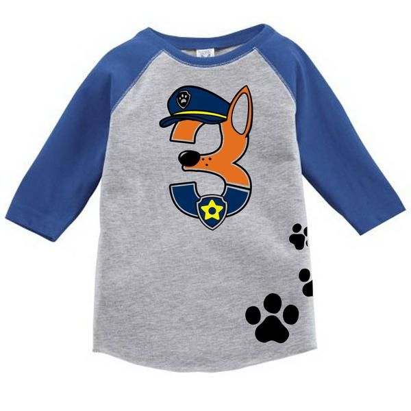 Age Memory Paw Patrol Chase Birthday Custom Raglan Toddler Shirt with Name on Back #toddler #birthday #customshirt #pawpatrol #chase  #toddlerlife #toddlertees