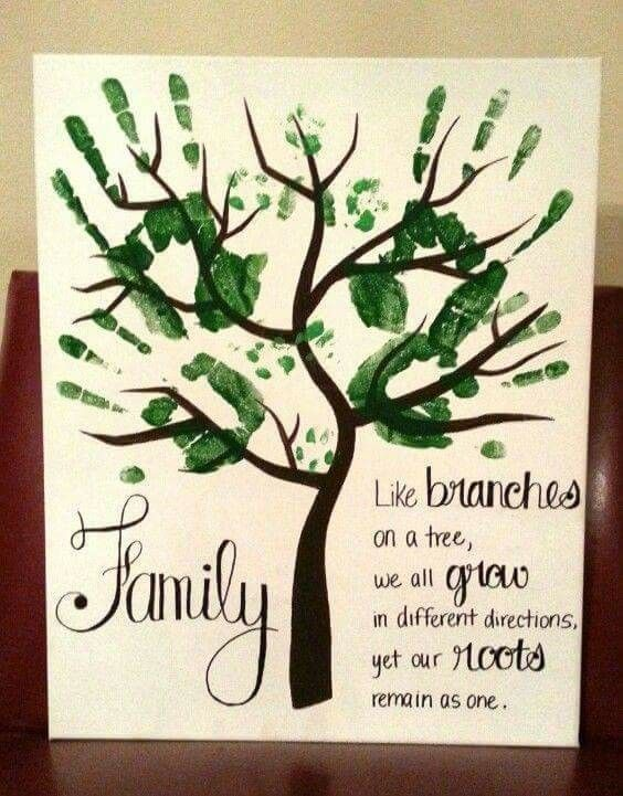 Family tree made of hand prints | Baby Hand and Foot Print Crafts