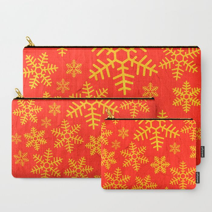 Christmas Snowflakes Carry-All Pouch by Fimbis       Makeup bag, cosmetics bag, snowflakes, red, gold, festive, xmas, fashion,