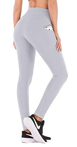 5b70665a1b12b IUGA High Waist Yoga Pants with Pockets, Tummy Control, Workout Pants for  Women 4 Way Stretch Yoga Leggings with Pockets (840 Light Gray, X-Small)
