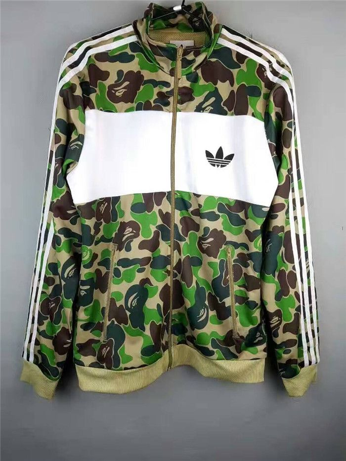 the bape x adidas originals collaboration firebird track jacket camo green hit this link to buy