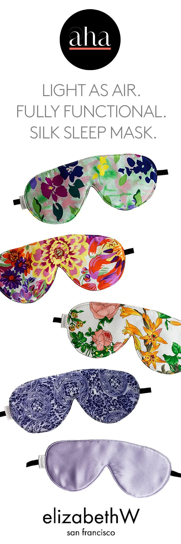 Sleep Mask by elizabethW - Light as air yet still functional, this eye mask blocks out sunlight while protecting your delicate eyes with the soft touch of pure silk, which also helps keep your skin hydrated and reduces hard lines around your eyes. An anti-aging must-have!