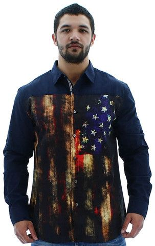 Mens Button Down Shirts - MO7 Most Official Seven Men's American Flag Button Down Shirt Woven