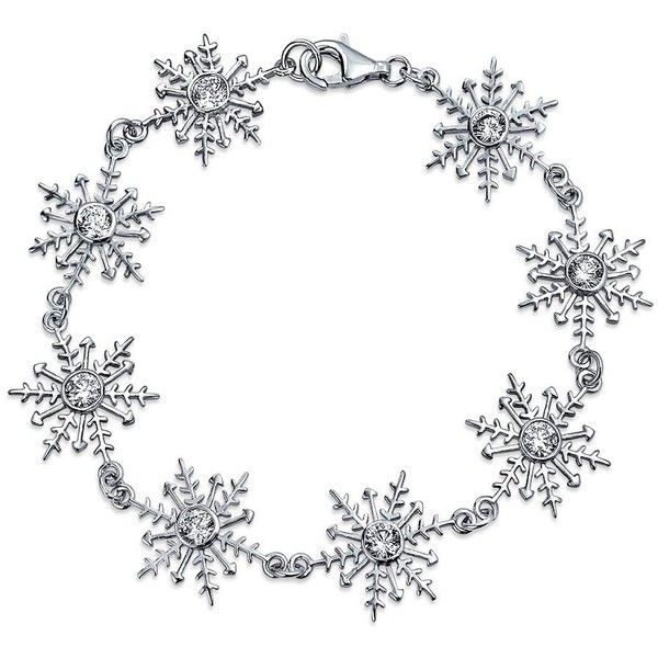 Bling Jewelry Soft Snow Bracelet ($100) ❤ liked on Polyvore featuring jewelry, bracelets, clear, link-bracelets, christmas jewelry, clear crystal jewelry, clear jewelry and snowflake jewelry