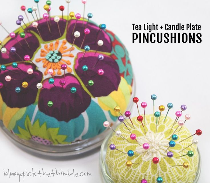 Make a simple and pretty fabric pincushion using glass candle plates and tea light holders for the base.