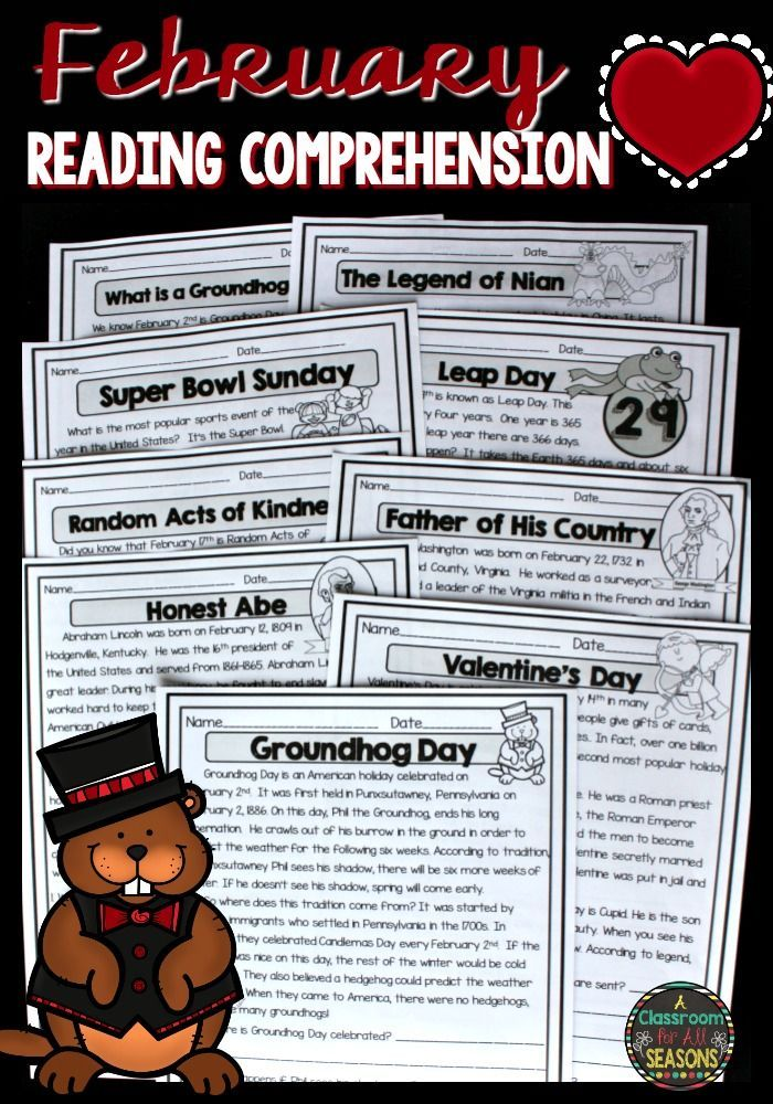 Fun reading comprehension passages for the month of February! These high interest worksheets cover Groundhog Day, Presidents Day, Valentine's Day, Super Bowl Sunday and more!