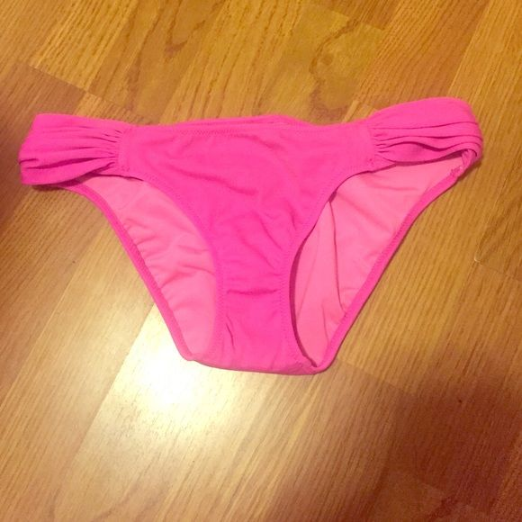 FinalNWOT VS bikini bottoms Pink VS bikini bottoms. I don't like the fit of these. Still has the liner but it looks dirty (bought like that). Size small. New w/out tags.  ALL OFFERS WILL BE DECLINED! Victoria's Secret Swim Bikinis