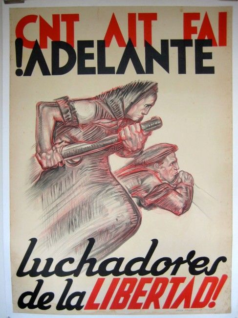 Adelante Spanish Civil War c. 1938 44 x 32 inches £1200 backed Rare image of women fighters in the Spanish Civil War.