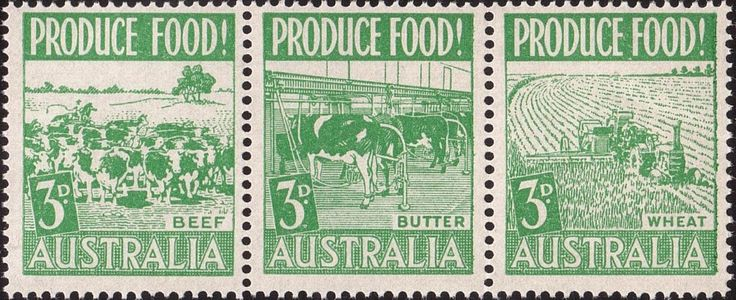 ACSC 289c) 1953. Food Production. 3d. Perforation 14½. No watermark. Se-tenant strip of 3