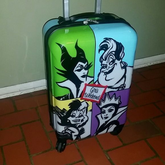 GIRLS WEEKEND VILLAIN LUGGAGE Rare HTF girls weekend villain suitcase. No longer sold in stores this hard sided carry on suitcase is perfect for disney villain fans! It has been used on two trips/flights  This is an authentic disney parks item  Reasonable offers considered! No trades disney Bags Travel Bags