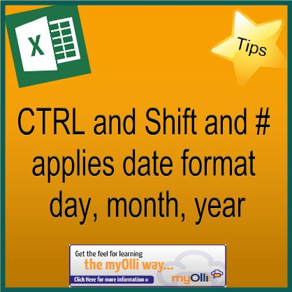 Microsoft Office: Excel Tip- Ctrl, Shift & # applies date format day, month, year. Source: www.theittrainingsurgery.com