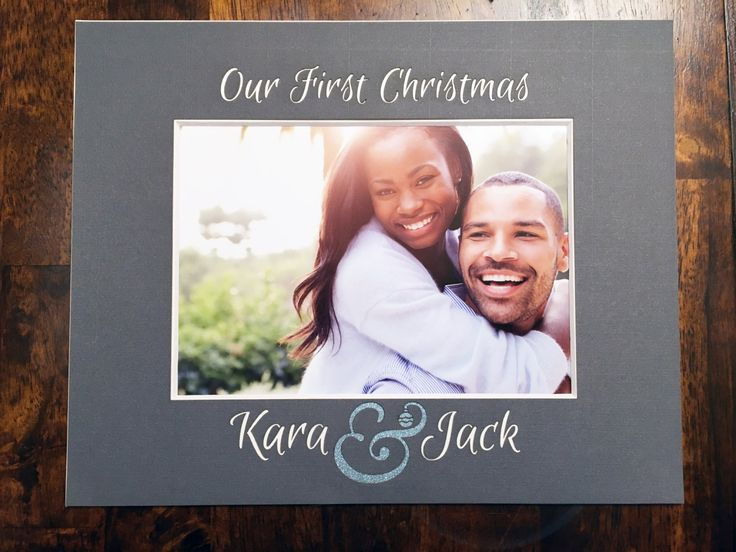 Custom Our First Christmas Photo Mat - with Couple's Names and giant ampersand (8x10) by NewtonHandiworks on Etsy