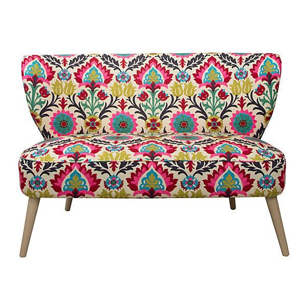 """Maven 51"""" Settee Pink/Multi Settees ($689) ❤ liked on Polyvore featuring home, furniture, sofas, couches, decor, hand made furniture, handcrafted furniture, handmade furniture, pink sofa i pink couch"""