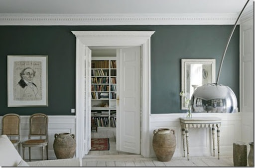 Slate Blue Walls With Colonial Style Moulding Dining