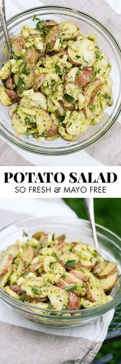 This simple, herbed red potato salad recipe will be a hit at your next potluck! cookieandkate.com