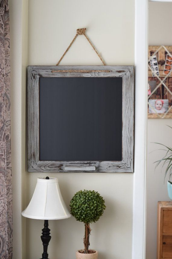 22x22 Square Distressed Gray Chalk Marker Board by ALatteDecor