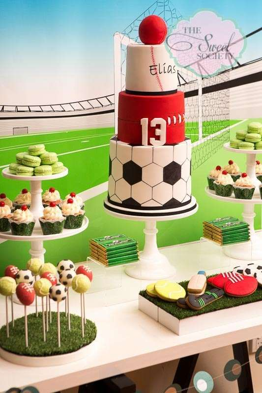 Sports Birthday Party cake and dessert table!  See more party planning ideas at CatchMyParty.com!