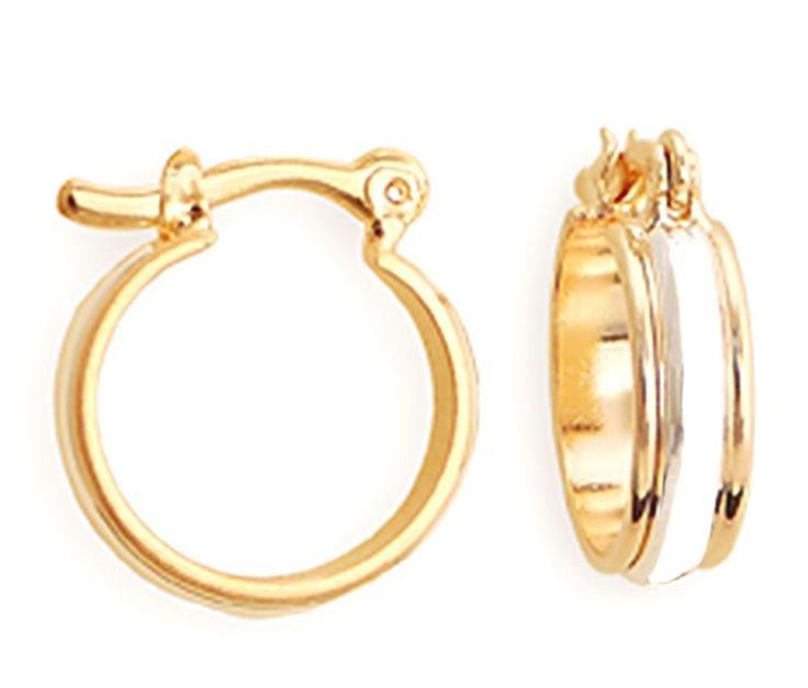 18k Yellow Gold & Rhodium Plated Two Tone Hoop Earrings Clip On- Women's Jewelry #QueensJewelry #Hoop