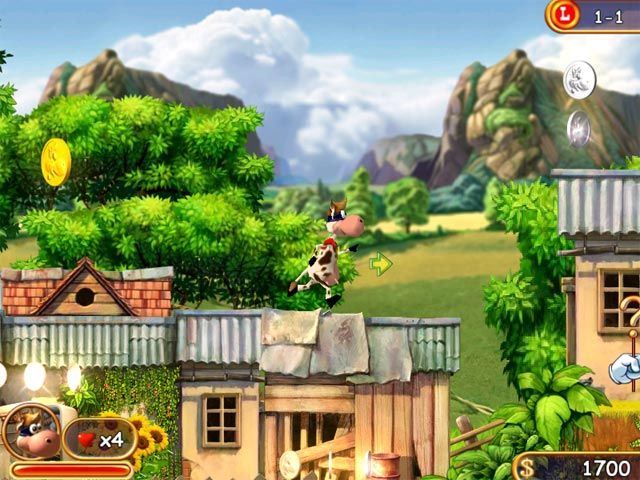 Supercow ****  ( Four Stars) For Download. Plenty of challenging levels Good entertainment for all age-groups Various enemies (snails, dogs, moles, crows, spiders etc.)