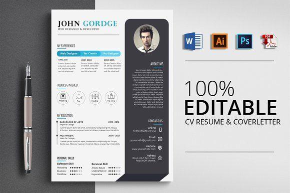 Word Cv Resume Template Cv Resume Template Resume Design Template Resume Template