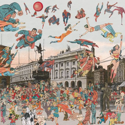 PETER BLAKE: London: Piccadilly Circus - The Convention of Comic Book Characters (collage on paper, 2012)