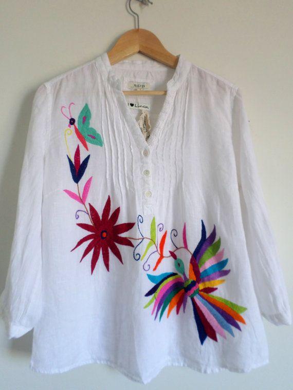 White 100% Linen blouse Size L. Multicolor hand by ArteOtomi