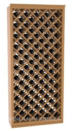 """Five Star Series: 95 Bottle Individual Diamond Wine Bin Wine Cellar Rack Storage Kit in Pine with Oak Stain +Satin Finish by Wine Racks America®. $790.25. Industry 1-1/2"""" toe-kick keeps your wine off the floor. Bottle capacity: 95 bottles (750ml). 11/16"""" wood thickness.. Money Back Guarantee + Lifetime Warranty. Made from eco-friendly wood sources in sustainable forests. Some assembly required. An Individual Diamond Wine Bin from the Five Star Series provides great airflow..."""