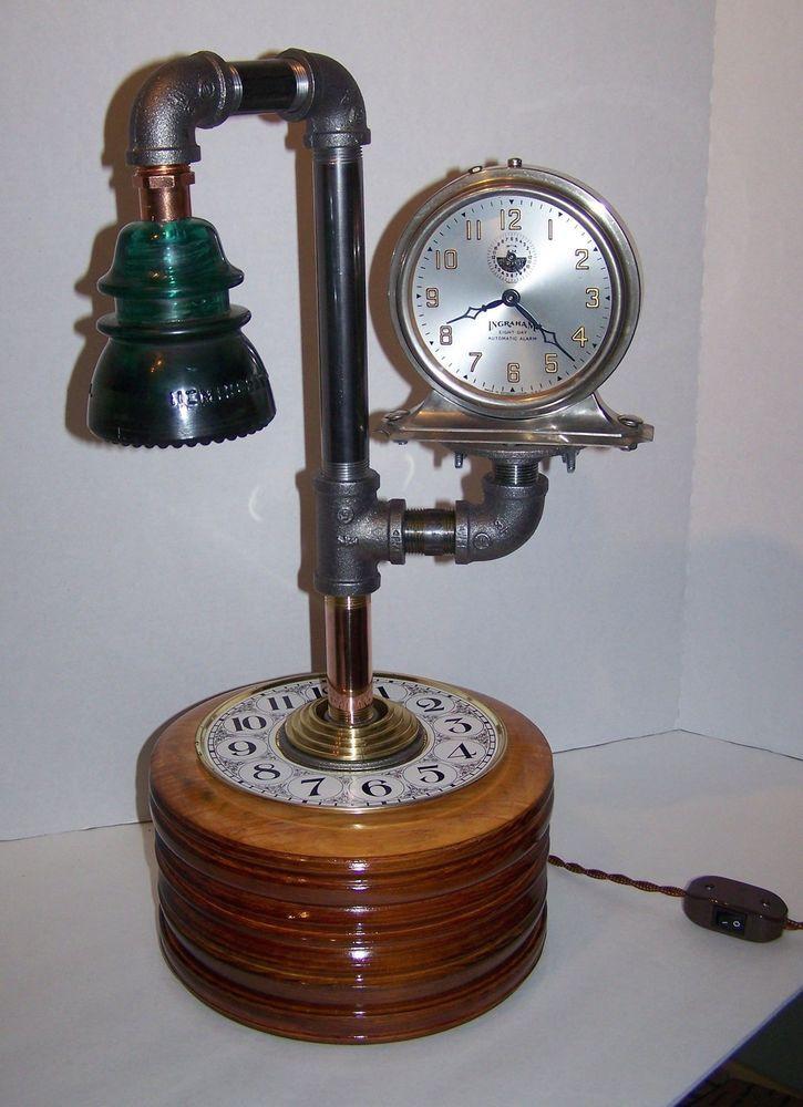 Industrial Steampunk Hemingray Electric Insulator & Working Ingraham Clock Lamp