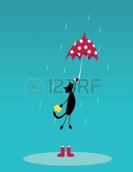 chat dessin: cat voler avec un parapluie rouge sur la pluie