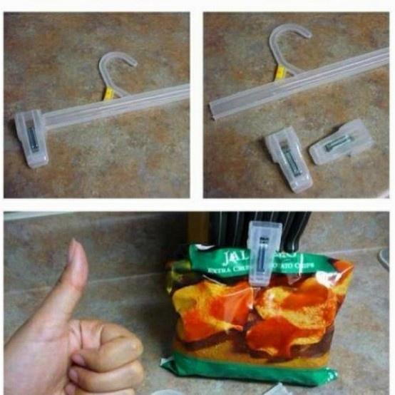Money Saving Idea.: Good Ideas, Chips Bags, Pants, Lifehacks, Chips Clip, Bags Clip, Life Hacks, Great Ideas, Clothing Hangers