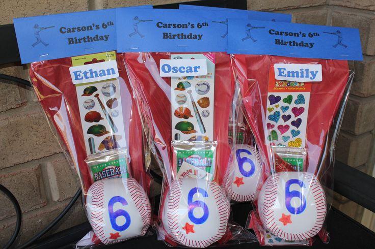 Custom baseball theme loot bags