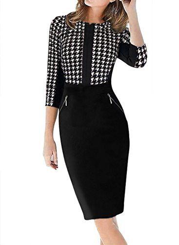 YEEZ Women's 3/4 Sleeve Houndstooth Print Zipper Formal Business Dress