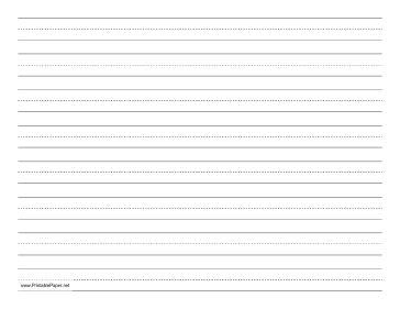 Children learning to print or write cursive can use this dashed paper in school or at home to practice penmanship. It is letter-sized and has eight lines per page, in landscape (horizontal) orientation. Free to download and print
