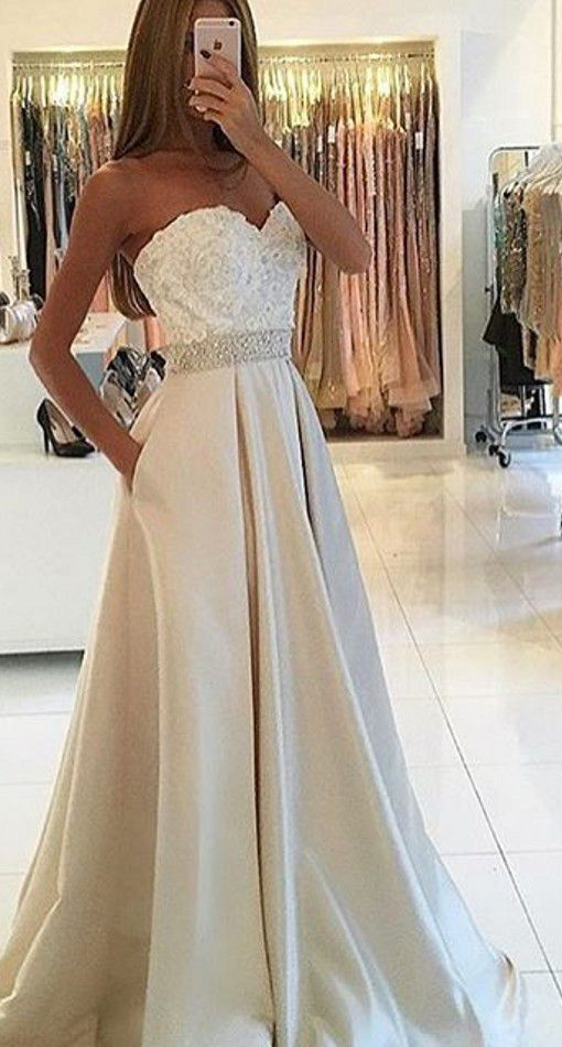 Hot Sales Ivory Lace Prom Dresses,Sweetheart Empire Waist Long Evening Prom Dresses With Pocket,A Line Women Prom Gowns