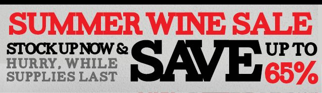 Summer Stock Up Wine Sale at WineOfTheMonthClub.com! Save up to 65%, with prices starting at just $4.99 per bottle. *while supplies last* http://www.shareasale.com/u.cfm?d=351040&m=47747&u=1233420